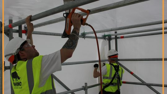 Shrink wrapping a temporary roof