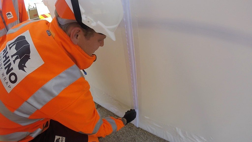 fitting shrink wrap door