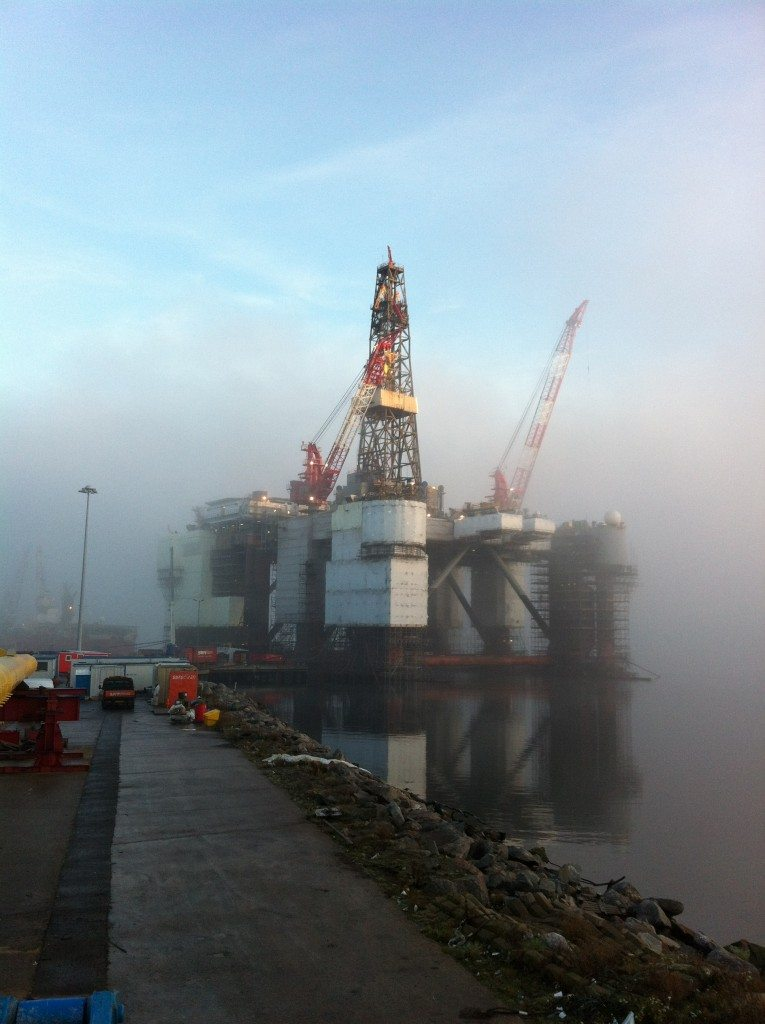 shrink wrapped oil rig