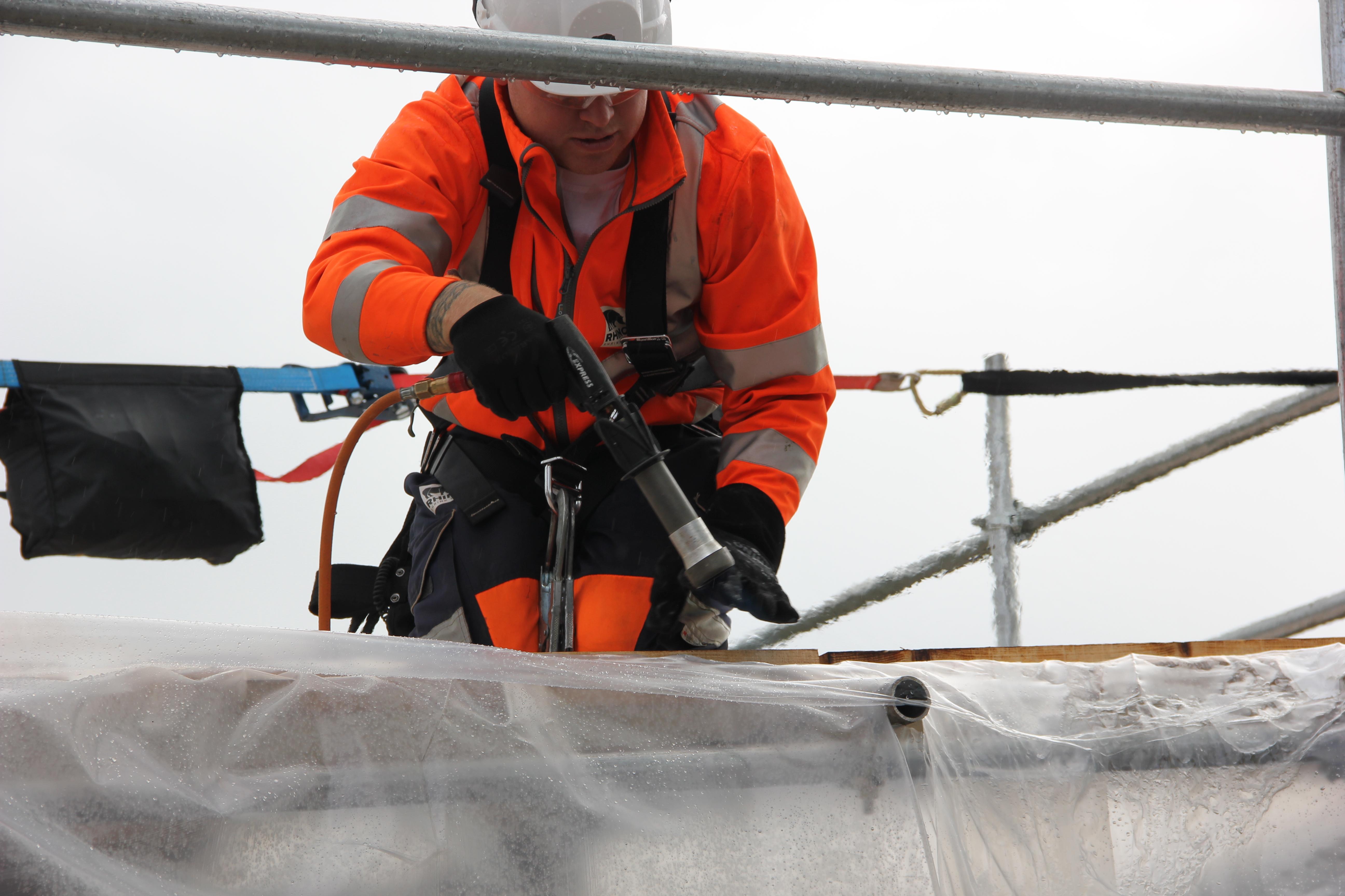 welding shrink wrap roof