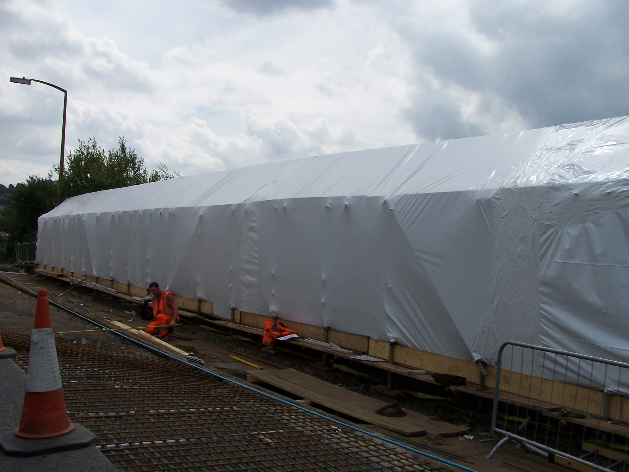 Containment Sheeting Covering Bridge Scaffolding
