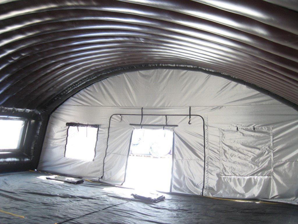 construction tent inside