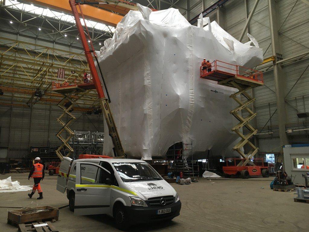 large custom transport cover inside view