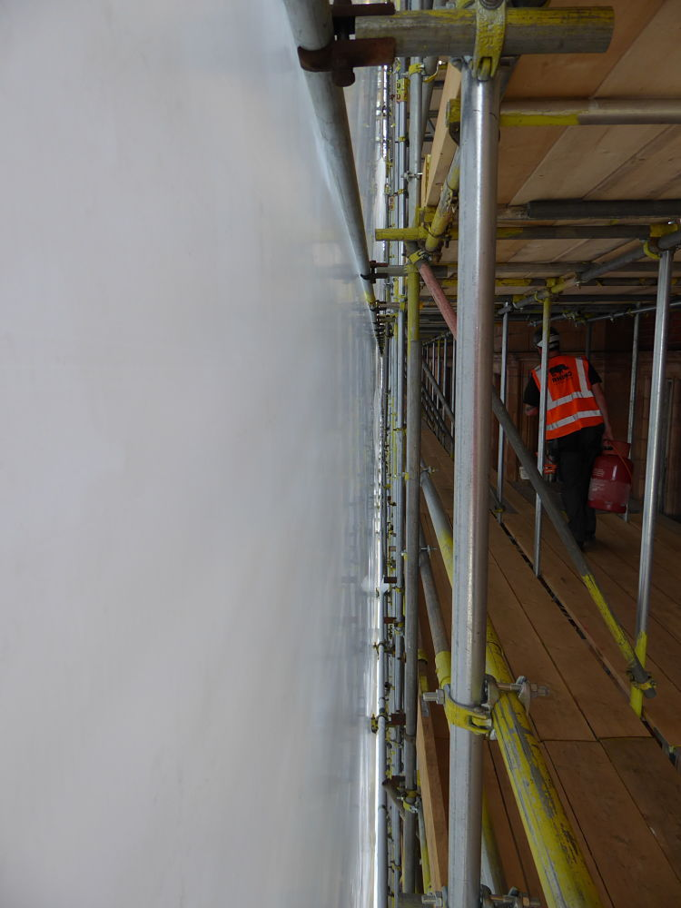how to set up scaffolding for shrink wrapping sheeting rails