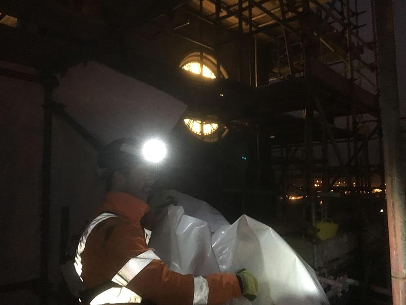 Installing Scaffold Shrink Wrap At Night In The Shetlands