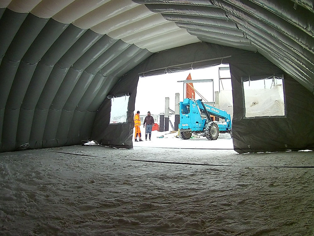 Construction tent inside view