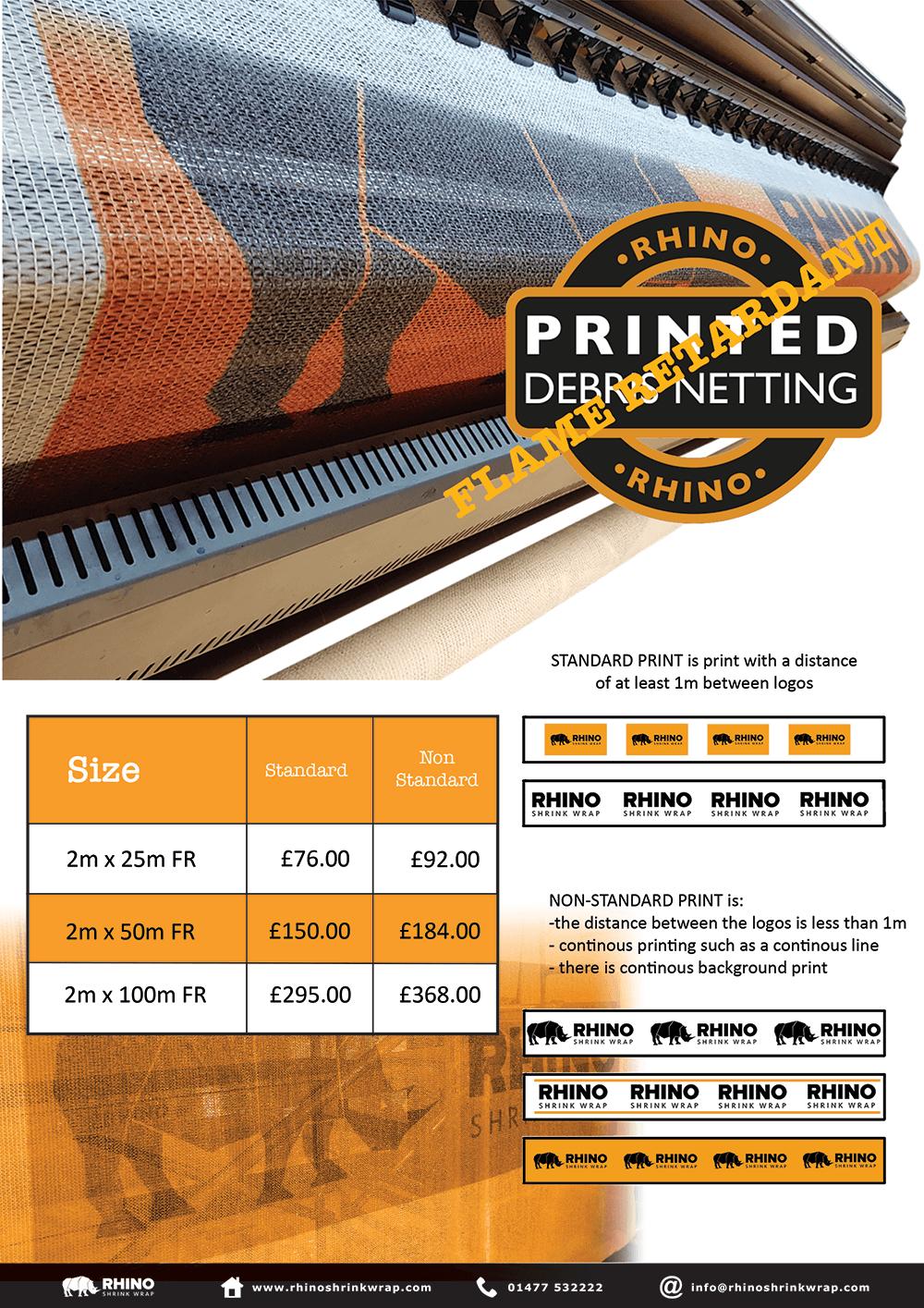 Flame Retardant Printed Debris Netting Price List