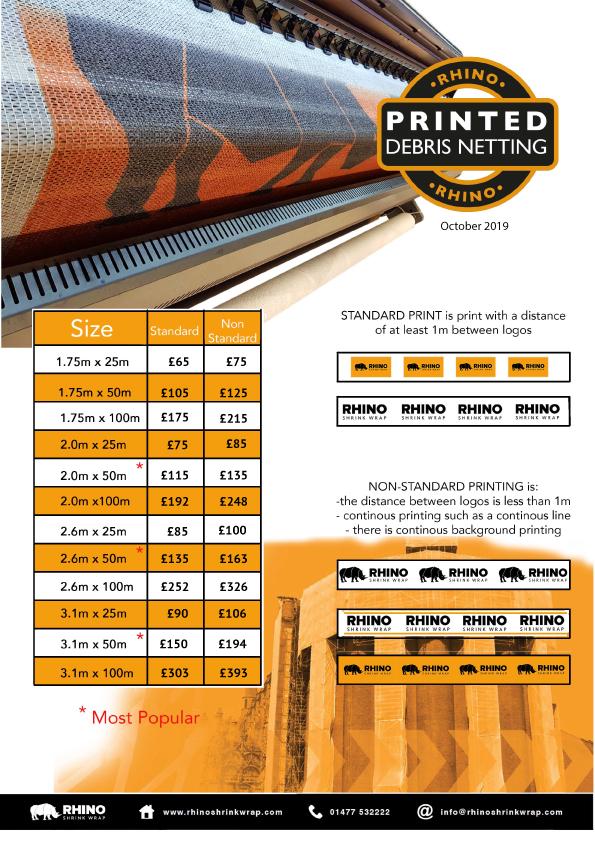 Rhino Shrink Wrap Standard Printed Debris Netting Price List