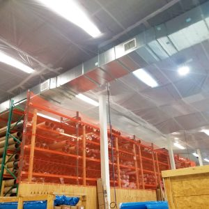 Interior Protection Sheeting Applied As A Suspended Ceiling