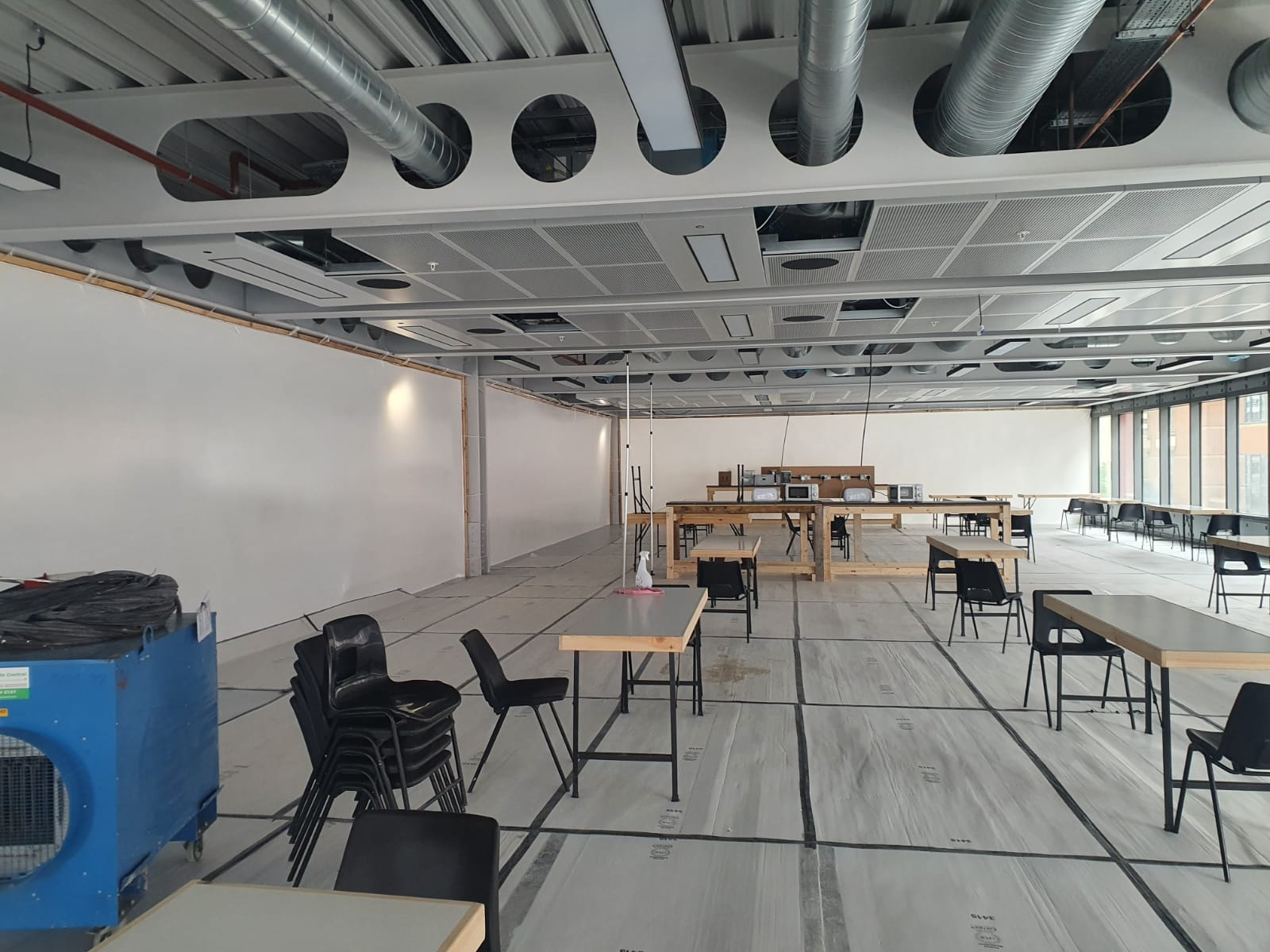 Covid 19 partition installed in a canteen