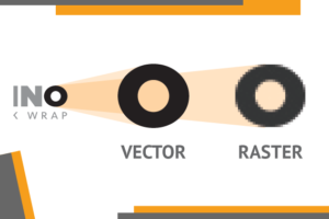 A basic graphic explaining the differences between vector graphics and raster images.